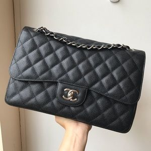 SOLD Chanel jumbo double flap caviar